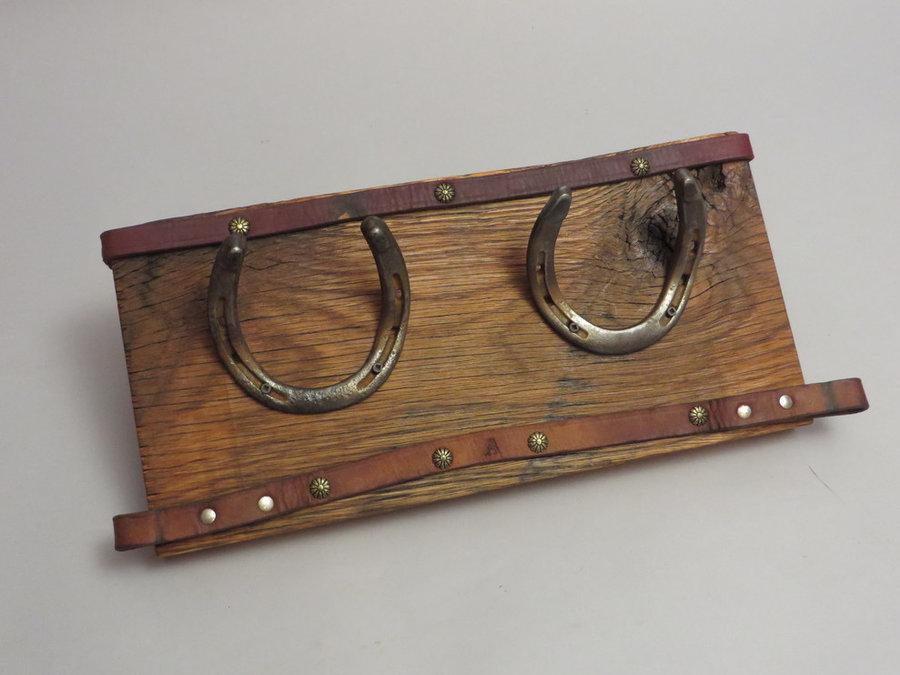 HorseShoe Rack. Reclaimed Oak, Shoes & Leather.