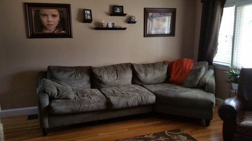 Living Room Kitchen Cabinets Are Dark Cherry Counter Is White Grays And Browns Looking For Help To Bring Color Into With Curtains Rug