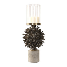 Luxe Bronze Seed Pod Candle Holder, Round Hurricane Concrete Base Organic Shape