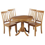 TTP Furnish - Kimberley 5-Piece Dining Set, Oak - This beautiful Kimberly solid wood dining set is perfect for small spaces. It is easy to assemble, and made from a tropical hardwood called is both eco-friendly and durable. The table sits on a single beautifully carved pedistal, which relieves pressure from your floor and allows chairs to easily slide in and out. The classic and simple side chairs have concave seats and curved backs for comfort and support, adding to the beauty of the set. If you're short on space but enjoy having a dining table, this is the perfect set for you.