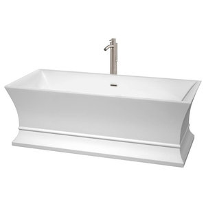 """67"""" Freestanding Bathtub With Floor Mounted Faucet"""