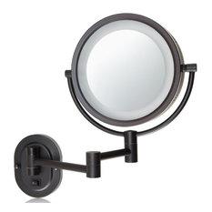 Lighted Wall Mount Magnifying Mirror: Jerdon Hardwired 2-Sided Swivel Halo Lighted Wall-Mount Mirror - Makeup  Mirrors,Lighting