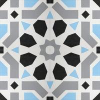 "8""x8"" Azilal Handmade Cement Tiles, Sky Blue/Black/Gray, Set of 12"
