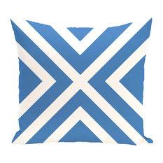 """x"" Marks The Spot Stripes Print Outdoor Pillow, Azure, 18""x18"""