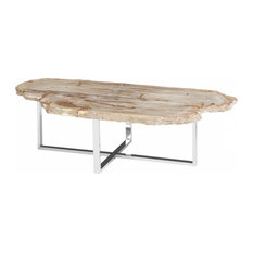 61-inchL Coleman Coffee Table One Of A Kind Petrified Wood Stainless Steel