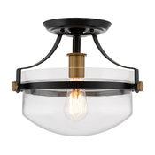 "Kira Home Zurich 12"" Rustic Farmhouse Semi Flush Ceiling Light + Glass Shade, Bl"