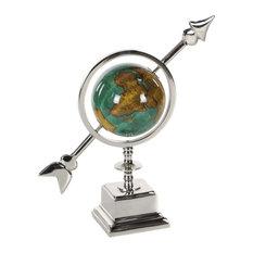 Contemporary Aluminum and PVC Arrow-Styled Globe, Cyan