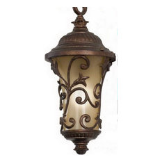 Burnished Bronze and Amber Etched Glass Fluorescent Exterior Hanging Light