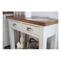 Dove Stone White Painted Oak 2 Drawer Console Table