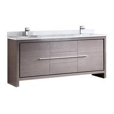 """Fresca Allier 72"""" Gray Oak Modern Double Sink Bathroom Cabinet With Top & Sinks"""