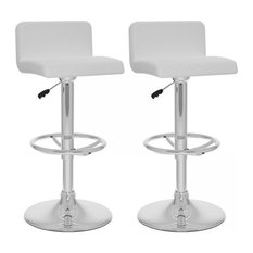 """Corliving 33"""" Low Back Bar Stool in White (Set of 2)"""