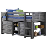 Donco Kids Moddy Low-Loft Bed, Antique Gray, Twin