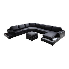 Soflex   Soflex Baltimore Ultra Modern Black Faux Leather Sectional Sofa  Set Right Chaise   Sectional