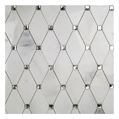 Mirage Diamond Marble and Mirrored Glass Tile, Asian Statuary