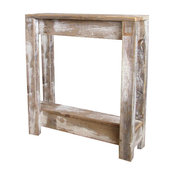Heavily Distressed White Farmhouse Accent Table