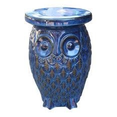 International Caravan - Wise Old Owl Ceramic Garden Stool Navy Blue Glaze - Accent and  sc 1 st  Houzz & Rustic Accent and Garden Stools | Houzz islam-shia.org