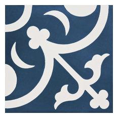 """8""""x8"""" Nador Handmade Cement Tile, Navy Blue/White, Set of 12"""