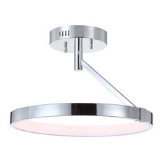 "Owen 17.5"" Dimmable Integrated Led Metal Semi-Flush Mount, Chrome"