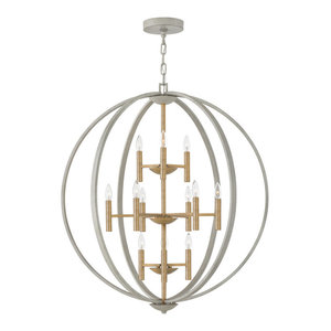 Hinkley Euclid Foyer Large Three Tier Orb, Cement Gray