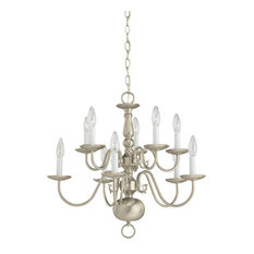 Sea Gull Lighting Ten-Light Chandelier, Brushed Nickel