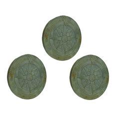 Compass Rose Verdigris Finish 10 Inch Round Cement Step Stone Set of 3