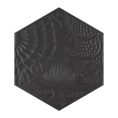 "8.63""x9.88"" Cornet Hex Porcelain Floor and Wall Tiles, Set of 25, Black"