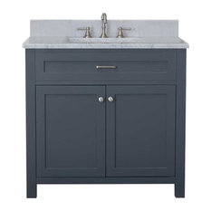"Cabinet Mania Gray Shaker 36"" Bathroom Vanity With Marble Top"
