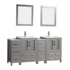 Vanity Art Vanity Set With Ceramic Top 72-inch Gray