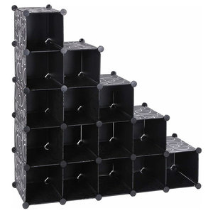 Contemporary 16-Cube Modular Shoe Rack, Plastic, Perfect for Space-Saving