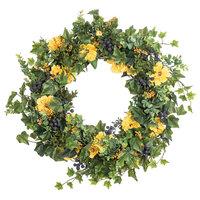 "Wild Forest Yellow Poppy Cosmos & Blueberry Ivy Spring Wreath, 30"""