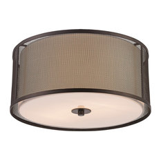 Landau 3-Light Flushmount in Rubbed Oil Bronze with Frosted Glass Acrylic Glass