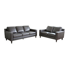Stardell 2-Piece Leather Sofa and Love Seat Set, Dark Gray