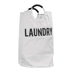 """Collapsible Laundry Hamper with Handles, White, 31""""x17"""""""
