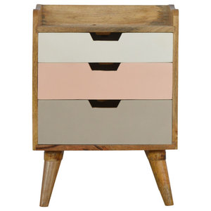 Solid Wood 3-Drawer Bedside Table, Pink