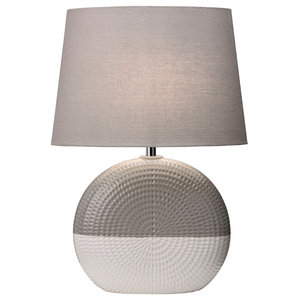 Bassett Table Lamp, Grey and White