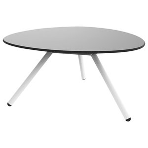Wide A-Lowha Side Table, Grey, White Frame