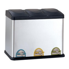Three Compartment Step-On Recycle Bin, 45L