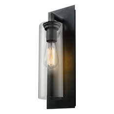 """Barker 14.25"""" Outdoor Wall Sconce, Black, Clear"""