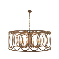 "Chatrie 48"" Extra Large Brown Drum Pendant Chandelier"