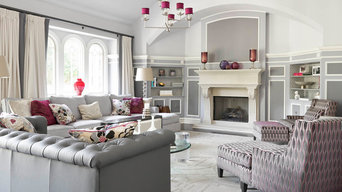 Great Room in Gray and Magenta