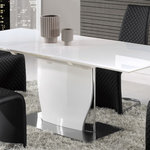 Global Furniture - White Dining Table - White - This contemporary dining table comes complete with a butterfly leaf to easily accommodate many dining needs. The sleek base is finished in a white lacquer and  stainless steel platform. This table will not disappoint.  (L x D x H): 63(87 EXTENDED) / 36 / 30