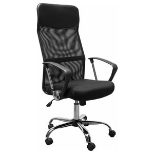 Swivel Executive Chair, Mesh and Faux Leather With Armrest, Adjustable Height