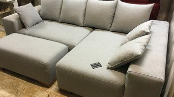 Перетяжка углового дивана тканью производства Тайвайнь www.stul.ru  Работу выпол