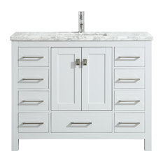 Eviva London 48-inch Transitional White  Vanity With White Carrara Marble Countertop