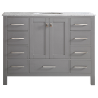 """Gela Single Vanity, Gray, 48"""", Without Mirror"""