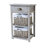 Tall Vintage Storage Unit with 1 Drawer and 2 Wicker Baskets