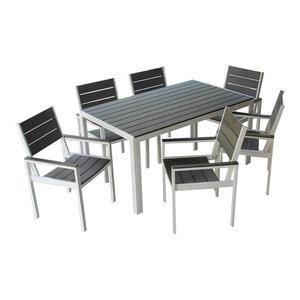 7 Piece Winston Outdoor Patio Dining Set White Aluminum Frame, Gray