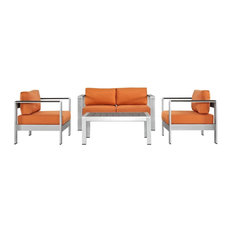 4-Piece Outdoor Sectional Sofa Set, Orange and Silver