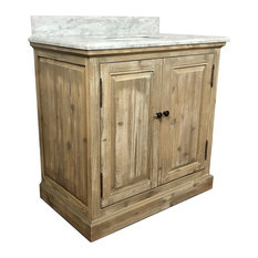 Kent Single-Sink Bathroom Vanity With Carrara White Marble Top, 36""
