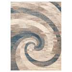 """ECARPETGALLERY - eCarpetGallery Abstract Area Rug, Modern Carpet, Ivory/Blue 7'10"""" x 10'2"""" - The Cora Collection sets the tone with bold geometric designs in an array of colors, with something to complement any interior style. Trendy and original patterns characterize this collection, and lend it versatility and the potential to decorate your space in many ways. Made from plush material, this collection ensures underfoot softness and is perfect for a family home."""